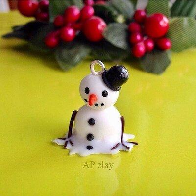 Collana pupazzo di neve in Fimo