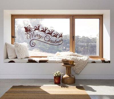 Adesivo natalizio slitta con renne e scritta