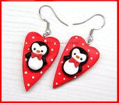 Natale Orecchini pinguino con papillon su cuore idea regalo fimo Kawaii