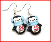 Natale Orecchini pinguini golosi fimo perno kawaii idea regalo ragazza donna