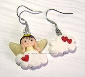 Natale Orecchini angelo su nuvola e cuori kawaii fimo regalo ragazza donna angioletto