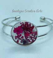 Bracciale in resina con fiori secchi veri