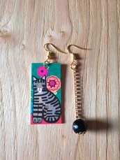 Gatto orecchini di carta con ciondolo a forma di rettangolo con gatto e perla nera