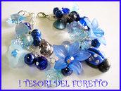 ♥ SCONTI! ♥ Bracciale FUFUFLOWERS Coccinella Fimo Cernit Charm Perle BLU