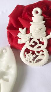 Stampo in silicone appendino tema natalizio pupazzo di neve