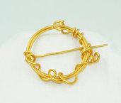 Spilla wire in alluminio colore oro