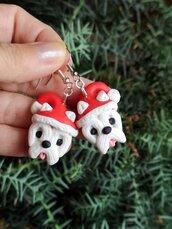 Orecchini in fimo cane westie in fimo natalizi, gioielli natalizi come idea regalo per amanti dei cani o ricordo cane west highland terrier