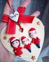 Targhetta  quadretto cuore famiglia regalo Natale