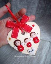 Targhetta cuore famiglia angioletti regalo Natale famiglia