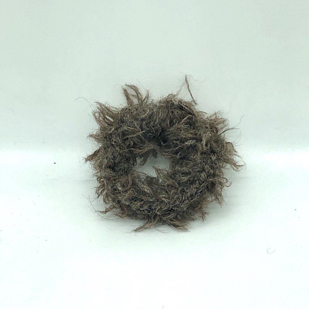 Elastico per capelli in lana bio marrone fatto a mano all'uncinetto
