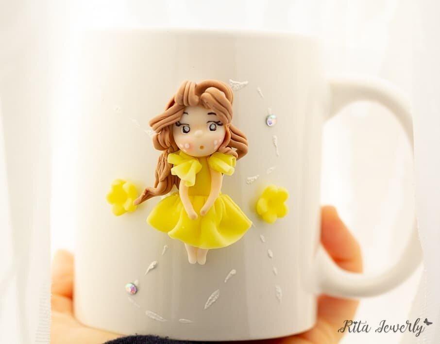Tazze decorate e personalizzate in fimo, Tazza ceramica decorata in fimo, fatto a mano, bomboniere fimo, bomboniere bambini fimo, bomboniere matrimonio fimo,