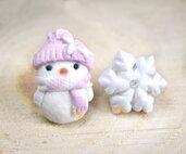 Natale Orecchini lobo pupazzo di neve rosa e fiocco neve fimo ragazza donna bambina
