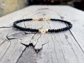 Bracciale uomo donna in pietre di spinello, diamante herkimer e pepite in oro vermeil, idea regalo raffinata. bracciale per coppie
