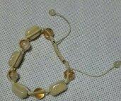 bracciale cordino con pietre colore avorio