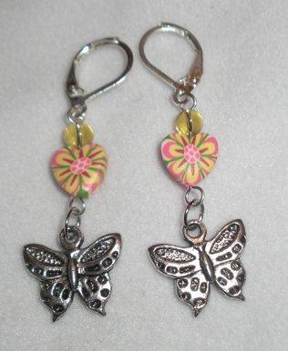 orecchini fimo cuori e farfalle
