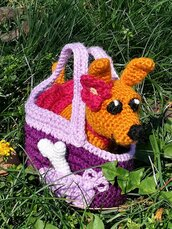 Cagnolina giocattolo pupazzo peluche Pepi con borsetta § Hand Knitted Crochet Toys