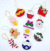 Set decorazioni natalizie mod.02, 10 pezzi, 1 stella GRATIS!