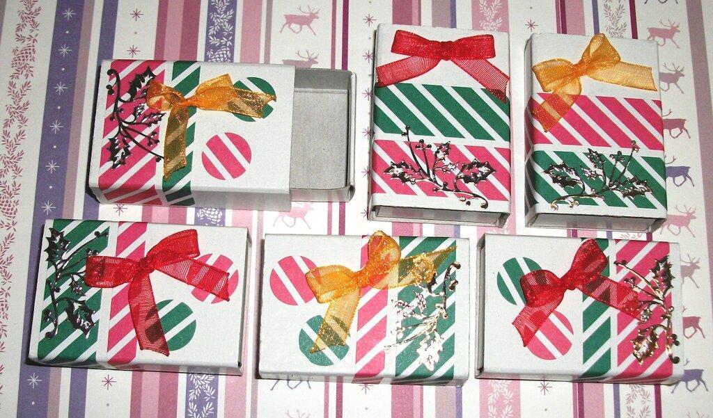 Lotto 5 - Scatoline decorate per Regali di Natale - Fiocchetti '50 - Scrapbooking&Packaging (6pz)