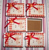 Lotto 8 - Scatoline decorate per Regali di Natale - Rosso Vintage - Scrapbooking&Packaging (5pz)