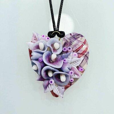 Ciondolo Cuore Floreale Colorato Viola