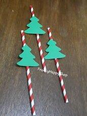 Cannucce di carta biodegradabili Natale,albero natalizio,cannucce rosso bianco verde decorazioni addobbi festa natale tavola ospiti torta regali albero