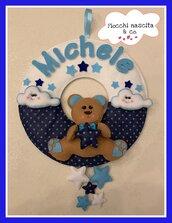 Fiocco nascita orsetto con stelle