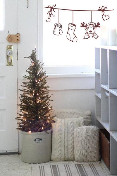 Adesivo Natale su filo con cuori e renna