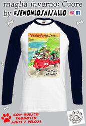 T-shirt manica Lunga LINEA CAGNOLINI- va dove to porta il cuore..
