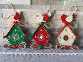 """Decorazione natalizia """"la casetta e l'uccellino"""""""