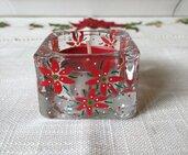 Piccolo cubo portacandela natalizio in vetro dipinto a mano