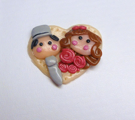 "CHARMS IN FIMO SEGNAPOSTO MATRIMONIO ""JUST MARRIED"""