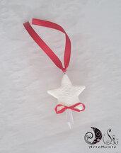 addobbo natale stella decorata con cristallo e fiocco rosso