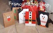 Sacchetti natalizi,renna babbo natale albero pinguino pupazzo di neve decorazioni addobbi natale pacchetto regalo bambini adulti fatto a mano,sacchetti di carta,carta kraft,chiudipacco