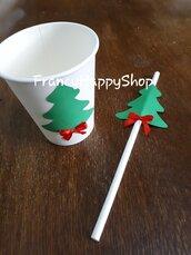 Bicchieri natalizi di carta decorati,addobbi natalizi regali di Natale fatto a mano rosso e verde,party a tema,decorazioni natale per la casa bambini e adulti tavola albero fiocco