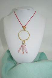 collana ottone e perline rosa