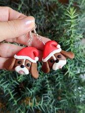 Orecchini in fimo cane cavalier king charles in fimo natalizi, gioielli natalizi come idea regalo per amanti dei cani o ricordo cane