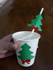 Natale cannucce di carta biodegradabili,albero natalizio con fiocco rosso,cannucce rosso bianco verde decorazioni addobbi festa natale tavola ospiti torta regali albero