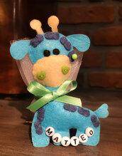 Bomboniera Battesimo giraffa feltro, baby shower, bambino