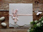 Partecipazione elegante in Bianco e Rosa