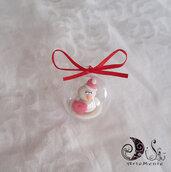 addobbo sfere mini natalizie con personaggio personalizzabile puppazzo di neve, babbo natale, renna
