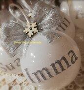 Pallina bianca con scritta argento