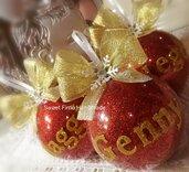 Pallina rossa con scritta oro