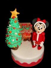 topper natalizio,rosso, topolina con albero di natale e caminetto