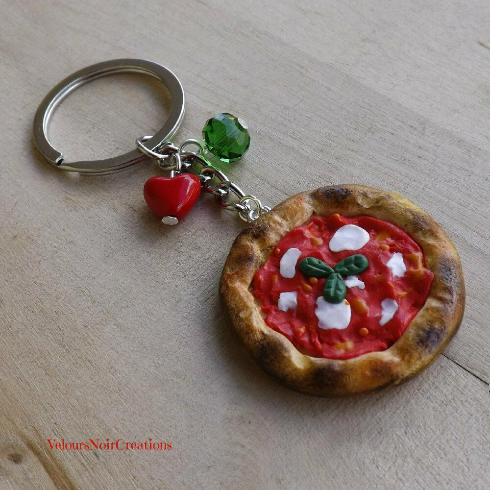 Portachiavi pizza margherita creata a mano