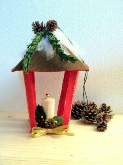 SCHEMA PDF Decorazione Natalizia - Lanterna in panno - pendente natalizio -