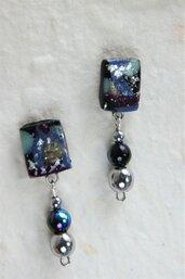 orecchini in fimo ispirati alle galassie, pendenti piccoli nero, azzurro, argento _070_