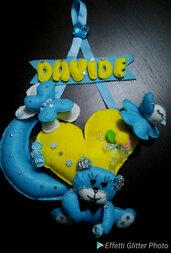 Fiocco nascita orsetto bambino pannolenci fatto a mano mascietto azzuro