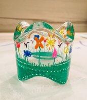 Portacandela tondo in vetro dipinto a mano