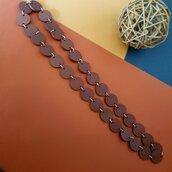 Collana Lunga cartoncino  color Cacao con anellini  colore Argento
