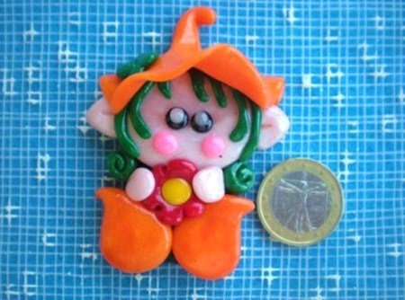 "CALAMITA MAGNETE IN FIMO ELFO FOLLETTO ""SWEETY"""